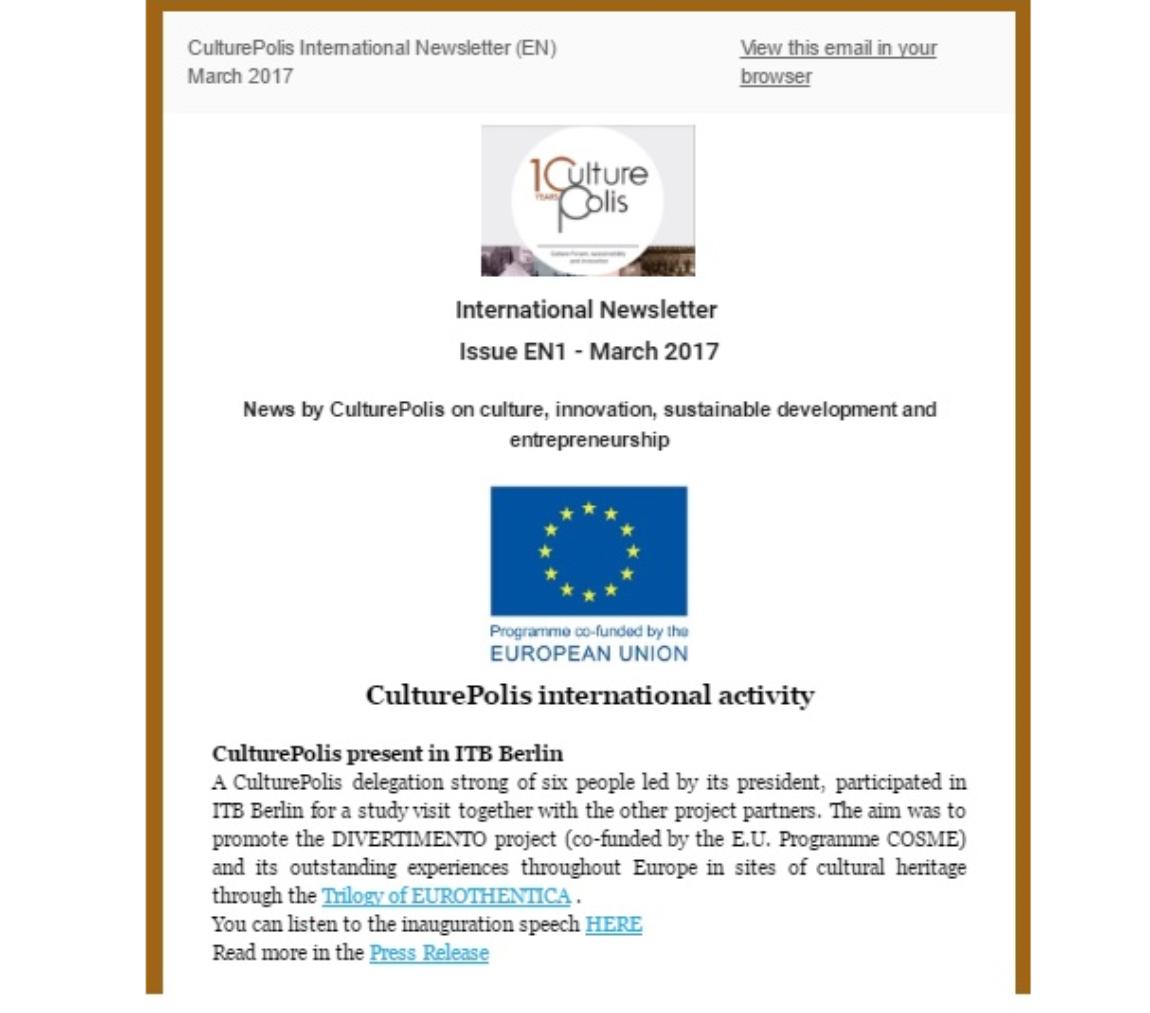 Διεθνές Ενημερωτικό Δελτίο – Μάρτιος 2017
